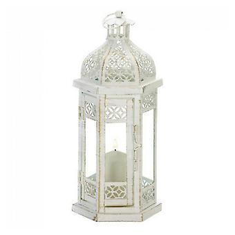 Gallery of Light Distressed White Metal Lantern with Floral Cutouts - 12 inches, Pack of 1