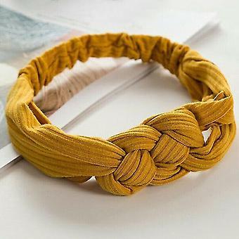 Hår curler klipp pins ingefær gul vri knute hodet wrap boho hodebånd knutet hårbånd damer elastisk hårbånd
