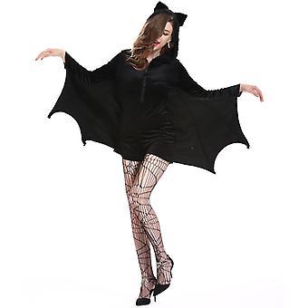Halloween Kreationen Frauen Schwarz Fledermaus Zip Hoodie Halloween Kostüme für Erwachsene
