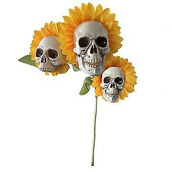 不気味な頭蓋骨ひまわりの花ガーデン装飾シミュレーション花装飾品ハロウィーンの装飾