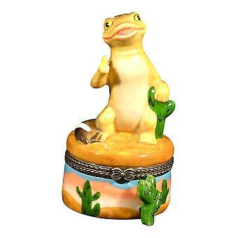Southwestern Gecko Desert Cactus Lizard Trinket Box Porcelain