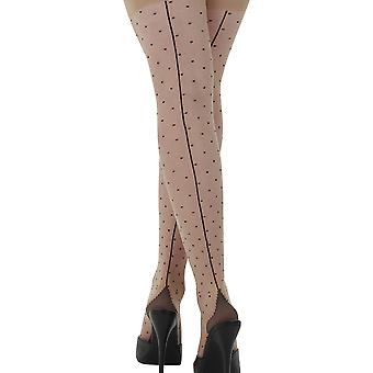 What Katie Did Nude/Black Dotty Seam Tights H2023
