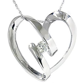-Serce 1 / 4ct diament wisiorek 14K białe złoto