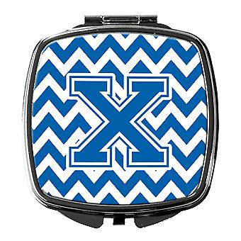 Carolines Treasures  CJ1056-XSCM Letter X Chevron Blue and White Compact Mirror