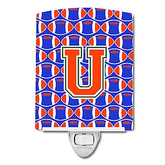 Letter U Football Green, Blue and Orange Ceramic Night Light