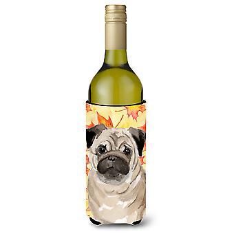 Fawn Pug Fall Wine Bottle Beverge Insulator Hugger