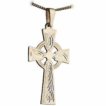 Oro 9ct 44x26mm reticolo di nodo inciso a mano croce celtica con la cauzione su un marciapiede a catena 24 pollici
