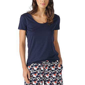 Mey 16824-408 Women's Night2Day Night Blue Solid Colour Pajama Pyjama Top