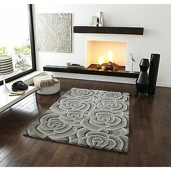 Valentine VL 10 Grey  Self coloured rose design in shades of grey Rectangle Rugs Modern Rugs