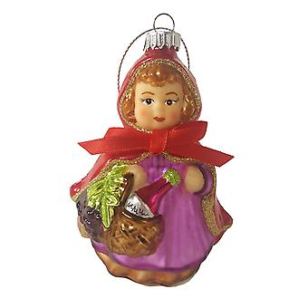 Little Red Riding Hood Christmas Holiday Ornament Glass