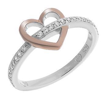 Orphelia Silver 925 Ring hart en Rosegold zirkonium ZR-7286
