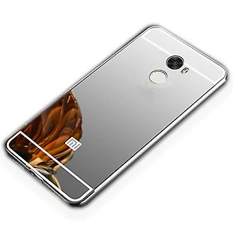 Spiegel / Mirror Alu Bumper 2 teilig mit Abdeckung Silber für Xiaomi Redmi 5 Plus Tasche Hülle