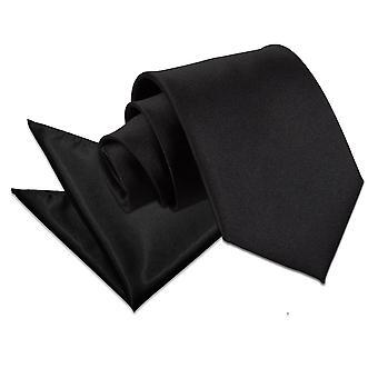 Cravatta in raso nero liscio & Set Square Pocket