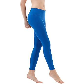 TSLA Tesla FYP41 Women's Mid-Waist Ultra-Stretch Yoga Pants - Solid Blue