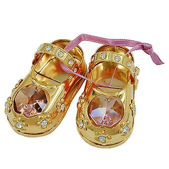 Decoratieve baby verguld schoenen Dekoobjekt 1 paar babyslofjes met glazen steentjes