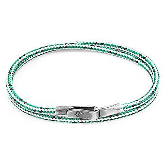 Anchor & Crew Green Dash Liverpool Silver and Rope Bracelet