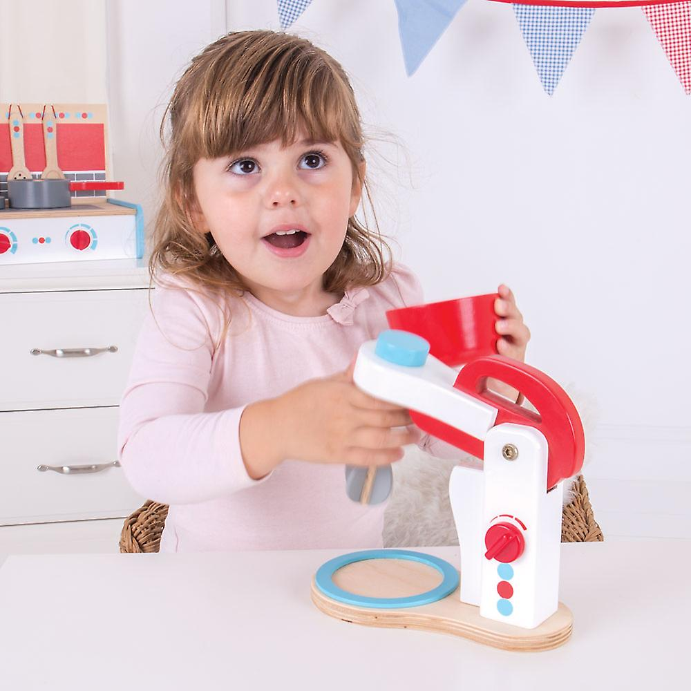 Bigjigs Toys Wooden Food Mixer Kids Kitchen Pretend Role Play