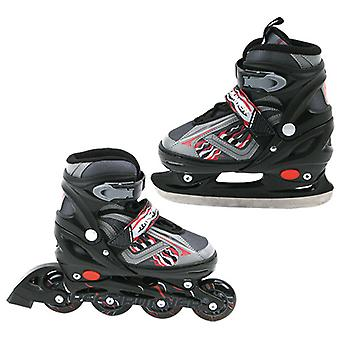 Abec 7 inline Skate/Skating 2 i 1 sort Str. 31-34