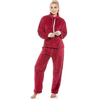 Camille Womens Supersoft Fleece rot Pyjama-Set