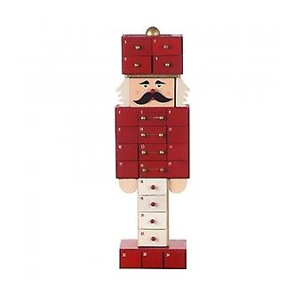 Red Nutcracker Wooden Christmas Advent Calendar