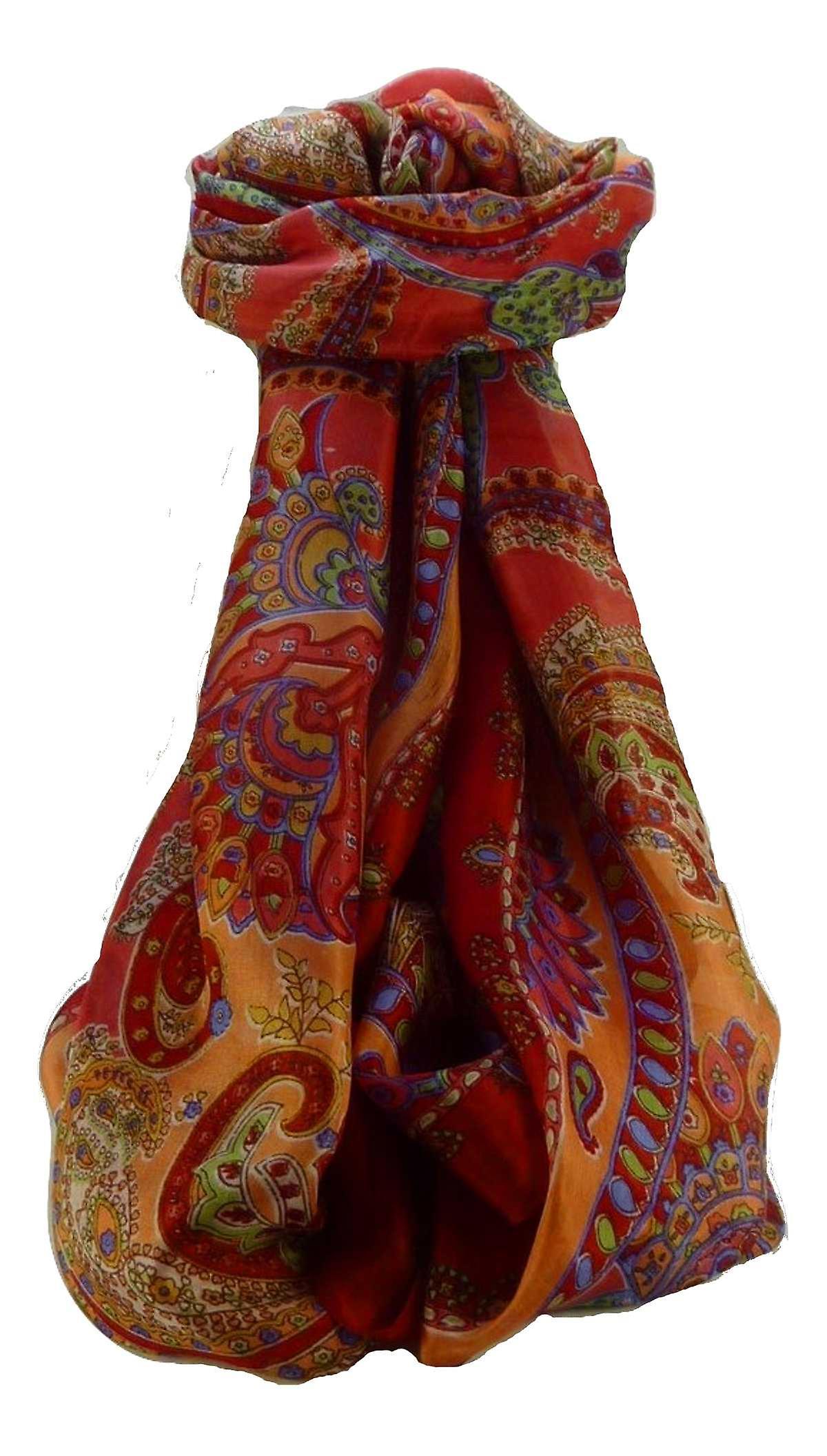 Mulberry Silk Traditional Long Scarf Shipra Scarlet by Pashmina & Silk