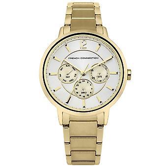 Francés conexión mujeres Multi dial reloj de cuarzo con correa de acero inoxidable FC1300GM