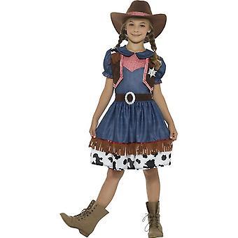 テキサス カウガール コスチューム、ドレス、ブルー添付チョッキ ・帽子
