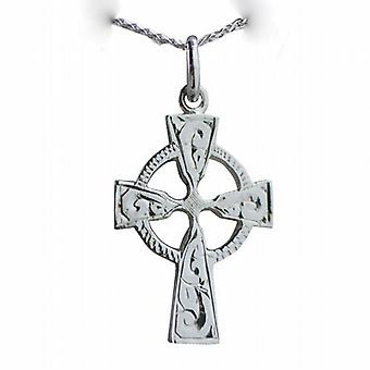 9ct White Gold 23x16mm hand engraved Celtic Cross with a spiga Chain 20 inches
