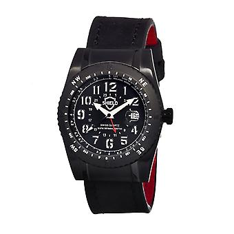 Shield Nuno Leather-Band Swiss Men's Diver Watch - Black