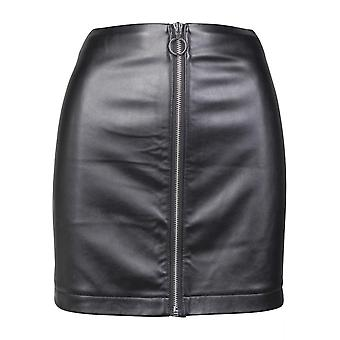 Urban classics ladies faux leather zip skirt