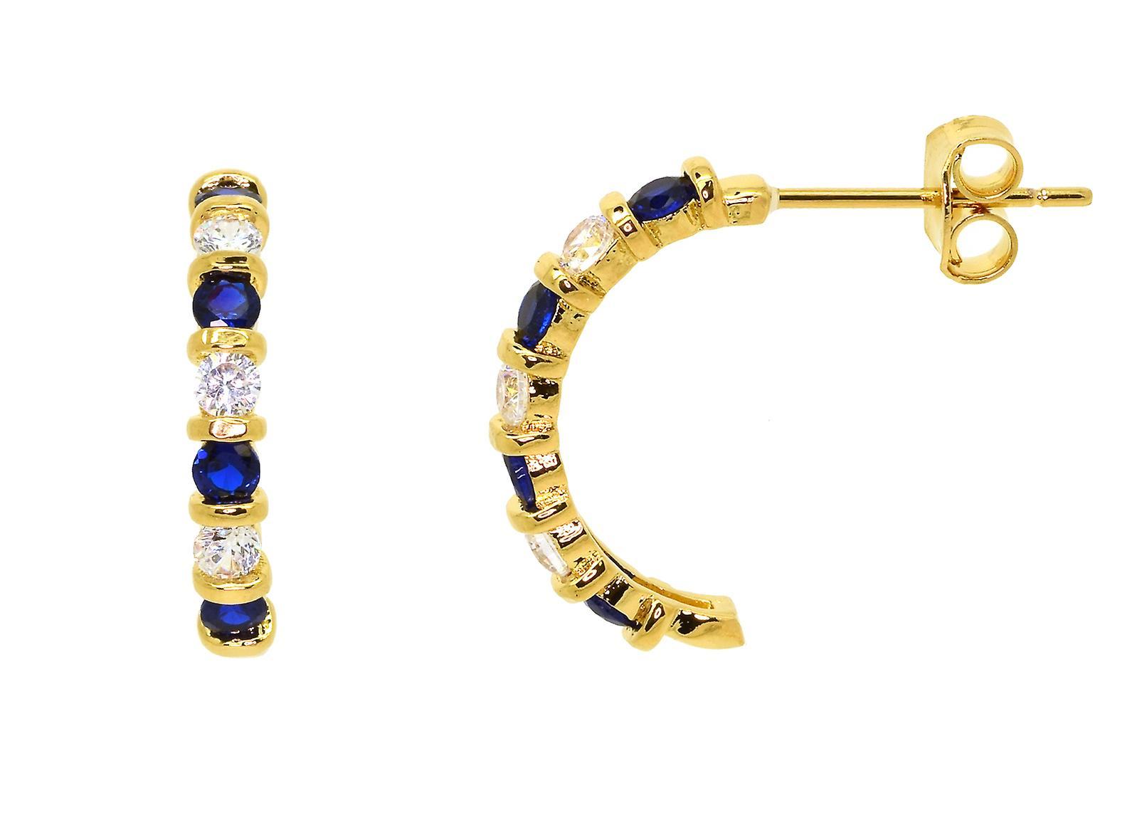 Ah! Jewellery Women's Half Moon Hoop Earrings Set Sapphire & Crystals From Swarovski