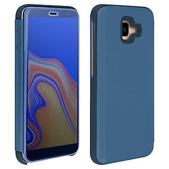 Etui typu flip Case, lustrzana obudowa do Samsung Galaxy J4 Plus, osłona na stojąco-ciemnoniebieski
