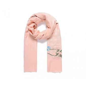 Fable Womens/Ladies Embroidered Frayed Floral Scarf