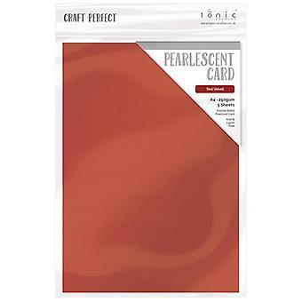 Handwerk perfekte Tonic Studios A4 Pearlescent Karte rot samt | 5 Blatt