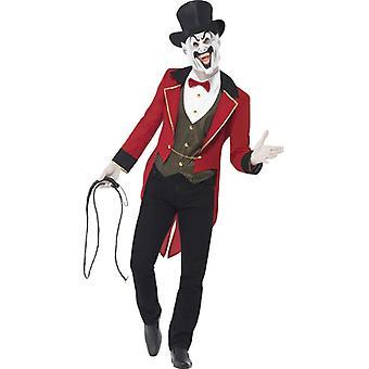 Costum de circ Eerie Director roșu și negru cu sacou jacheta parte masca