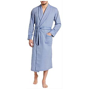 British Boxers Garrison Herringbone Cotton Robe - Blue