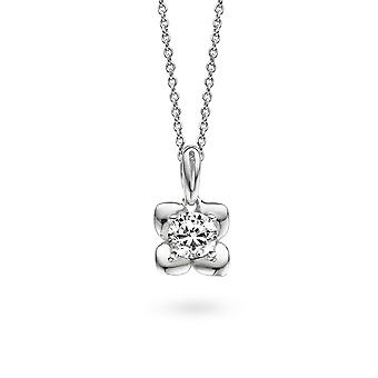 PENDANT WITH CHAIN FLOWER 925 SILVER ZIRCONIUM
