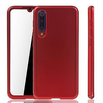 Xiaomi Mi 9 SE Handy Hülle Schutz-Case Full-Cover Panzer Schutz Glas Rot