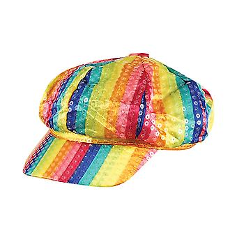 Bristol Novelty Unisex Adults Rainbow Sequin Cap