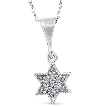 14K 1/15ct Pave Star Of David Diamond Dangle Pendant