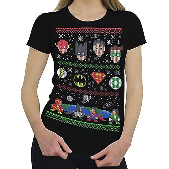 Justice League 8-Bit Ugly Sweater Women's T-Shirt