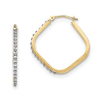 14k Yellow Gold Diamond Fascination Square Hoop Earrings Jewelry Gifts for Women - .010 dwt
