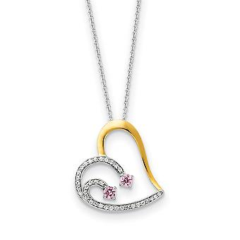 Polished Gift Boxed Spring Ring Rhodium plated Accent gold plating Love Heart With Pink CZ Cubic Zirconia Simulated Diam