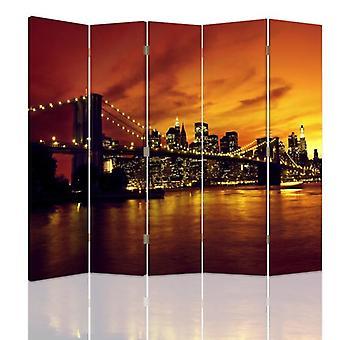Divisor de quarto, 5 painéis, duplo-face, lona, ponte de Brooklyn e Manhattan no por do sol