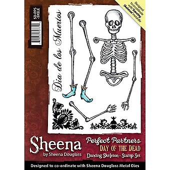 Sheena Douglass Perfect Partners Day of the Dead A6 Rubber Stamp Set - Dancing Skeleton