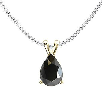 Dazzlingrock Collection 14K 9x7 mm Pear Cut Black Sapphire Ladies Solitaire Pendant (Silver Chain Included) 1CT, Yellow Gold