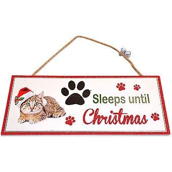 Santa Paws Oblong Plaque Cat - Sleeps until Christmas by Shudehill Gitware
