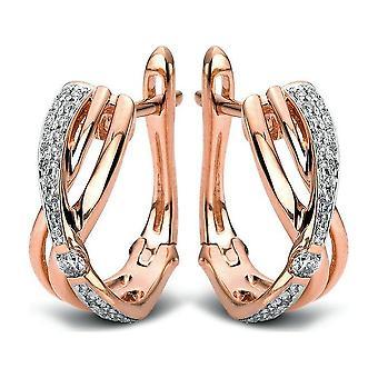 Diamond creoles hoop earrings - 14K 585 red gold - 0.31 ct.