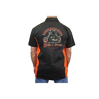 "Biker Mechanic Work Shirt ""Mechanic Shop Bobber Garage"" BLACK/ORANGE"