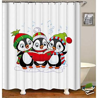 Penguins Christmas Band Shower Curtain